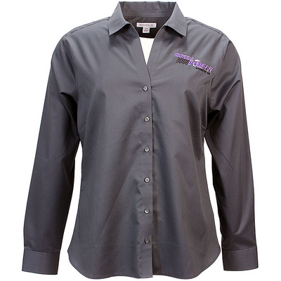 Royal Purple Womens Long Sleeve Button Down - Grey